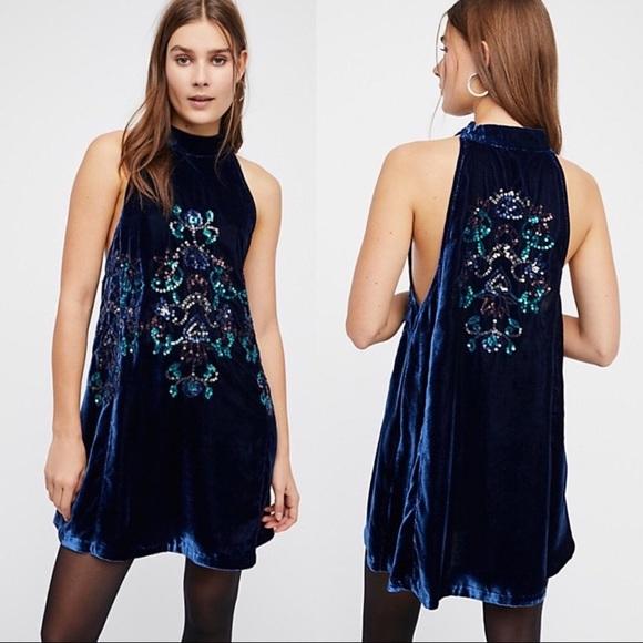 5cb9c372b1bb Free People Dresses | Blue Velvet Swing Dress | Poshmark